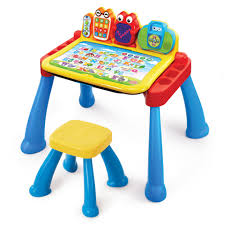 play on the interactive desktop or draw a picture using the easel while sitting on a stool perfectly sized for kids learning desk