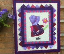 Quilted Wall Hanging.Sunbonnet Sue Wall Hanging.Handmade. Wall Art ... & Quilted Wall Hanging.Sunbonnet Sue Wall Hanging.Handmade. Wall Art.Home  Decor.Modern.Purple Quilt.Gift.Patchwork.Pink. Small Quilt.Unique Adamdwight.com
