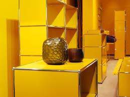 bricks furniture. USM Haller Modular Furniture In Golden Yellow. Exhibition At Böhmler Im Tal, Munich, Bricks