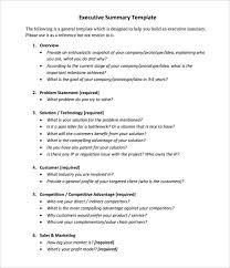 Executive Summary Outline Executive Summary Sample Template Business