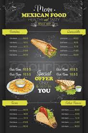 mexican food menu design. Modren Menu Drawing Vertical Color Mexican Food Menu Design On Blackboard  Stock  Vector Colourbox Inside Mexican Food Menu Design