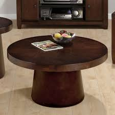 small round coffee table light wood traditional brown design