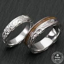 sterling silver hawaiian jewelry couple wedding ring set with koa wood inlay 4 6mm width flat style standard fitment