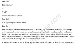 Complaints Letter Format Complaint Letter To Police Station For Loss Of Documents