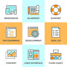Css Responsive Flow Chart Line Icons Set With Flat Design Elements Of Responsive Web Development