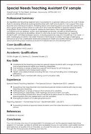 Teacher Assistant Resume Fascinating Special Needs Teaching Assistant CV Sample MyperfectCV