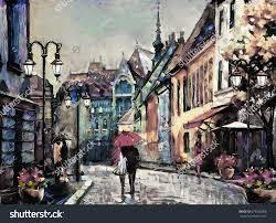 oil painting on canvas european city street view of paris artwork people under