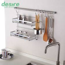 Kitchen Wall Rack Pictures Shelf Storage Including Double Flavoring  Chopstick Holder Cm Hanging Rod And With Charming Decals For Pots 2018