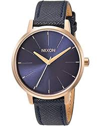 nixon metallic kensington stainless steel watch with leather band lyst