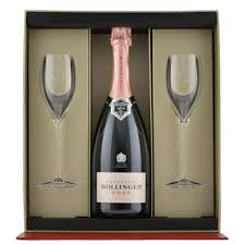 bollinger rose with 2 gles gift pack