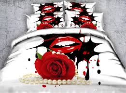3d red rose duvet cover romantic bedding sets queen fl bedspreads holiday quilt covers bed linen pillow covers white pearl necklace bedroom duvet covers