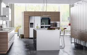 ikea modern kitchen. A Large Kitchen With Light Grey Walnut Effect Drawers, Doors And White Island Ikea Modern