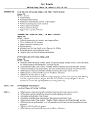 Console Operator Sample Resume Console Operator Resume Samples Velvet Jobs 1