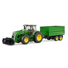 bruder toys john deere 7930 with frontloader and trailer toy tractor play set walmart