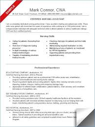 Cna Job Description For Resume New Resume For A Nursing Assistant