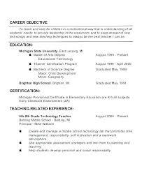 Career Objective For Teacher Resumes Sample Objective For Preschool Teacher Resume Free Samples Teachers