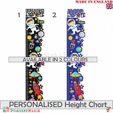 Boys Height Chart Uk Personalised Height Chart Space Wall Sticker Kids Children