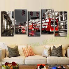 Paintings For Living Room Wall 5 Pcs Set London Red Bus Wall Paintings Canvas Art Canvas Print