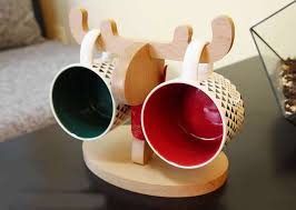 Tea Cup Display Stand Wooden Muntjacs Deer Mug Holder Eyeglass Sunglasses Display Stand 96