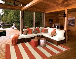striped outdoor rug deck