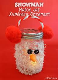Decorated Christmas Jars Ideas Snowman Mason Jar Luminary Ornament Craft Idea 48