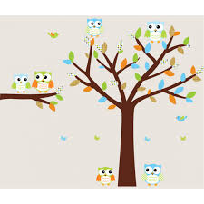 colorful owl tree wall decal with wall decals trees for boys bedrooms