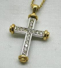 details about beautiful two colour 18 carat gold and diamond set cross pendant and chain