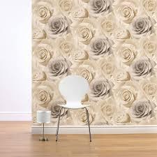 muriva madison rose fl bloom wallpaper in beige 119504 room jpg