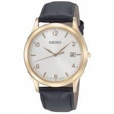 seiko watches sgee10p1 quartz white dial tone with black leather strap men watch