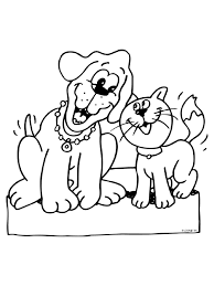 Kleurplaat Hond En Kat Vinden Elkaar Leuk Kleurplatennl