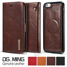 genuine leather wallet case magnetic flip cover for iphone 5 6 7 samsung s7 s8