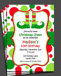Christmas Birthday Party Invitations Christmas Elf Invitation Printable Or Printed With Free Shipping