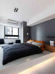 Bedroom Decor Ideas for Men: wood bed frame, grey and navy, industrial  bedside