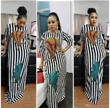 African Attire Outfits Designs 2018 Fashion Women Black And White Stripes Maxi Dress Design Traditional African Clothing Print Dashiki Nice Neck African Dresses For Women Cute White