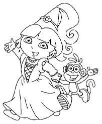 Dora Went To Party With Boots Coloring Pages Dora Kleurplaten