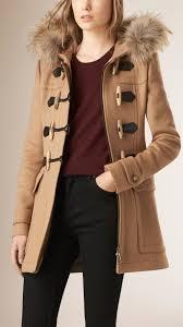lyst burberry blackwell detachable fur trim wool duffle coat camel in natural