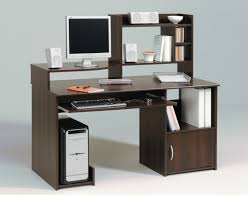 Enticing Cool Computer Table Design With Dark Brown Wooden Laminate Computer  Desk Fitted Bookshelf On The