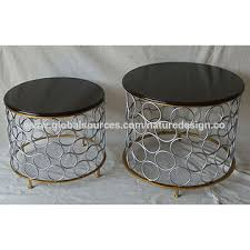 china coffee table end table black round silver gold