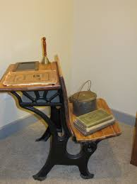 clever way to use an antique school desk i like that it functions as a side table and a seat