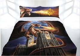 anne stokes dragon fury doona cover bed set double queen king gothic castle meval dragon