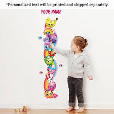 Kids Wall Growth Chart Personalized Shopkins Kids Growth Chart Wall Decal Baby
