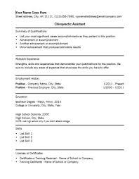 Chiropractic Assistant Sample Resume Chiropractic Assistant Resume Best Resume Collection 2