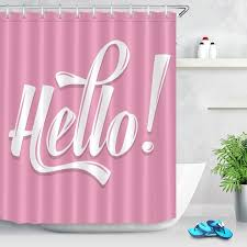 lb 180 180 white hello pink purple shower curtains waterproof polyester bathroom curtain screens fabric for bathtub home decor shower curtains