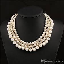 2019 multilayer big imitation pearl necklace women chunky luxury bubble simulated pearl pendant choker necklace design fashion gold chains from yelesley