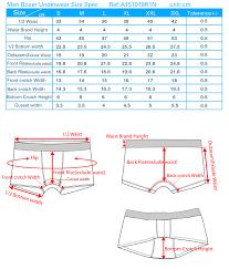 Mens Boxer Brief Size Chart Boxer Underwear Size Chart
