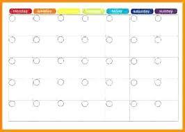 Monthly Calendar Template Excel 2015 Blank Month Menu Plan