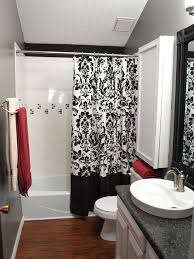 shower curtains red black white