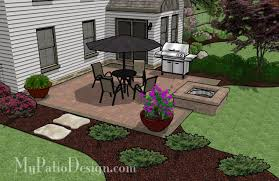 Floor Concrete Patio With Square Fire Pit Remarkable For Floor