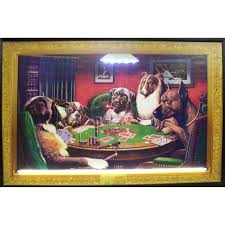 dogs playing bold bluff neon led sign