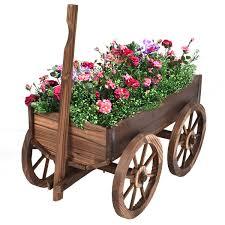 costway wood wagon flower planter pot stand w wheels home garden outdoor decor 0
